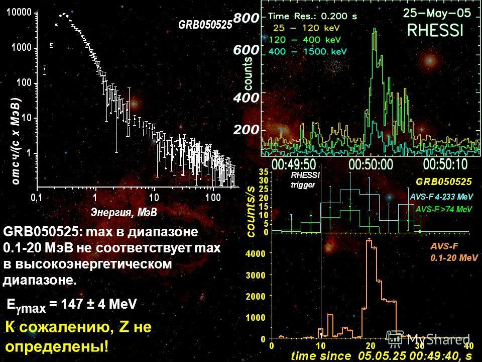 GRB050525: max в диапазоне 0.1-20 МэВ не соответствует max в высокоэнергетическом диапазоне. E max = 147 ± 4 MeV К сожалению, Z не определены!