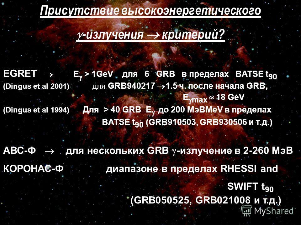 Присутствие высокоэнергетического -излучения критерий? EGRET E > 1GeV для 6 GRB в пределах BATSE t 90 (Dingus et al 2001) для GRB940217 1.5 ч. после начала GRB, E max 18 GeV (Dingus et al 1994) Для > 40 GRB E до 200 МэВMeV в пределах BATSE t 90 (GRB9