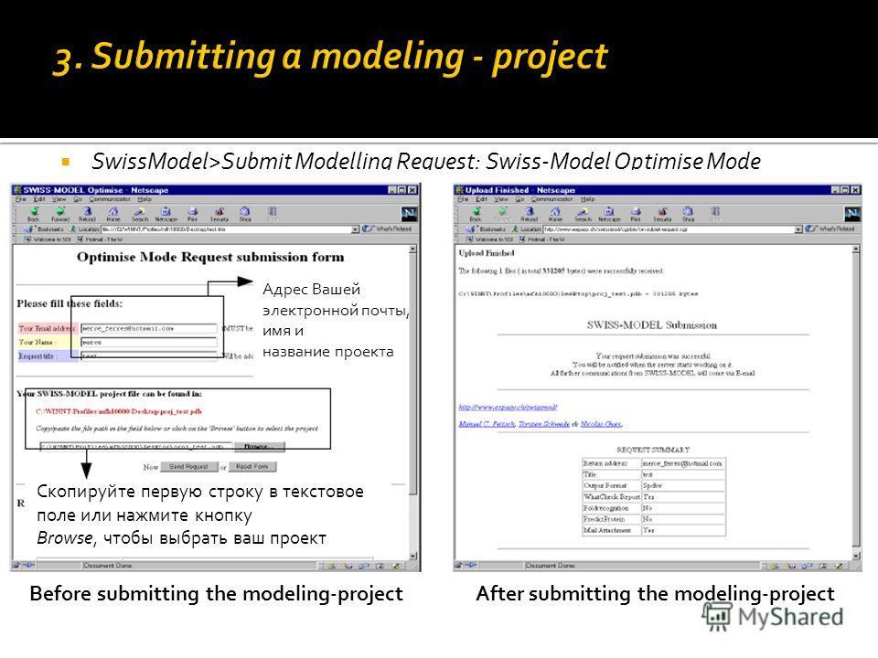 SwissModel>Submit Modelling Request: Swiss-Model Optimise Mode Адрес Вашей электронной почты, имя и название проекта Скопируйте первую строку в текстовое поле или нажмите кнопку Browse, чтобы выбрать ваш проект Before submitting the modeling-projectA