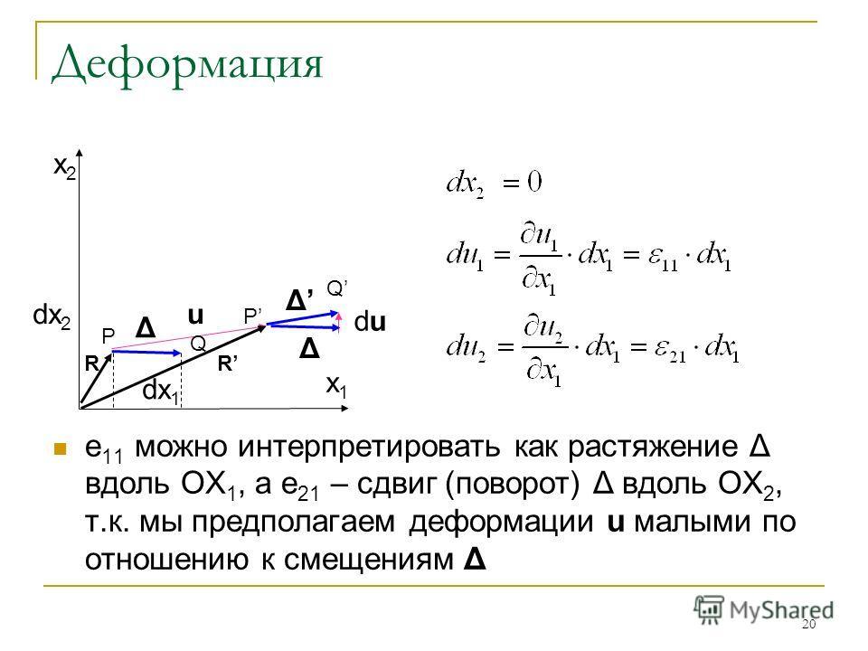 20 Деформация e 11 можно интерпретировать как растяжение Δ вдоль OX 1, а e 21 – сдвиг (поворот) Δ вдоль OX 2, т.к. мы предполагаем деформации u малыми по отношению к смещениям Δ dudu x2x2 P Q R P Q R x1x1 u Δ Δ Δ dx 1 dx 2
