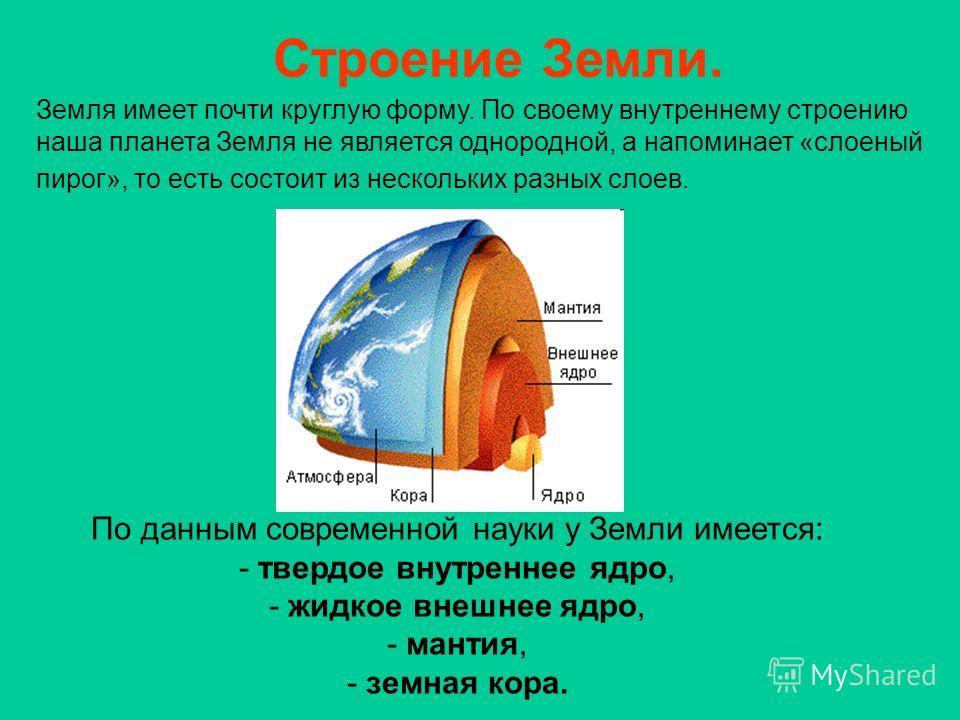 Земля имеет почти круглую форму. По своему внутреннему строению наша планета Земля не является однородной, а напоминает «слоеный пирог», то есть состоит из нескольких разных слоев. По данным современной науки у Земли имеется: - твердое внутреннее ядр