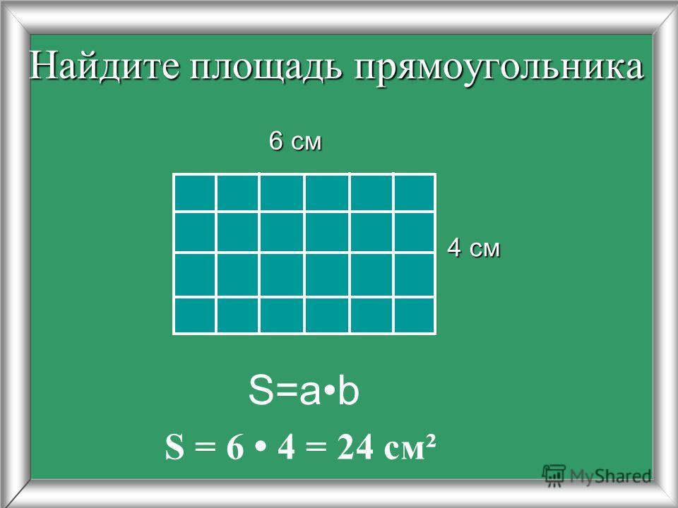 Площадь прямоугольника 1.Чтобы найти площадь прямоугольника, измеряют его длину и ширину (в одинаковых единицах) и находят произведение полученных чисел. 2.Чтобы найти площадь прямоугольника, надо его длину умножить на ширину.