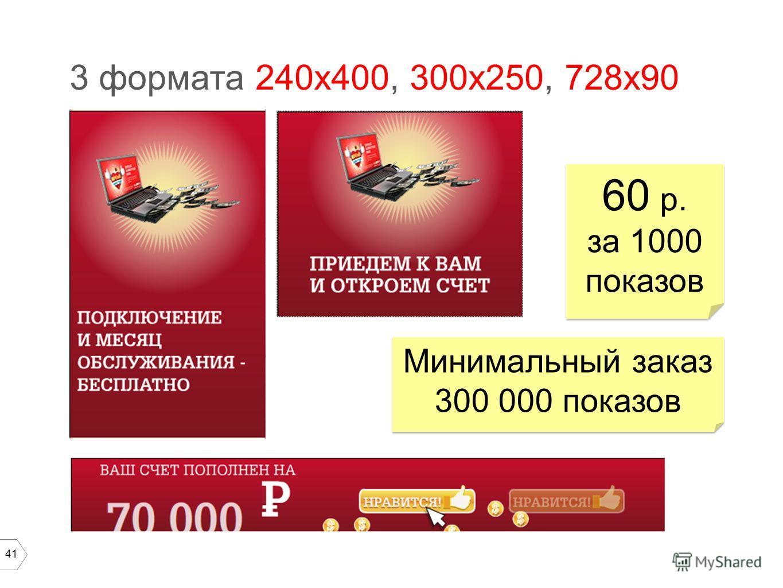 41 3 формата 240х400, 300х250, 728х90 60 р. за 1000 показов 60 р. за 1000 показов Минимальный заказ 300 000 показов