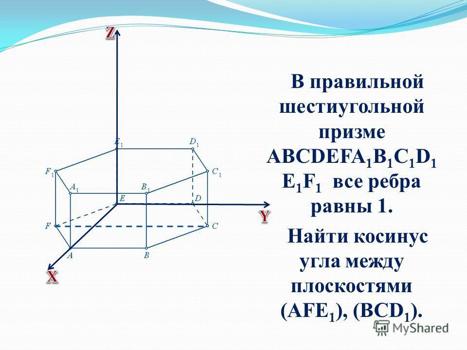 В правильной шестиугольной призме ABCDEFA 1 B 1 C 1 D 1 E 1 F 1 все ребра равны 1. Найти косинус угла между плоскостями (AFE 1 ), (BCD 1 ).