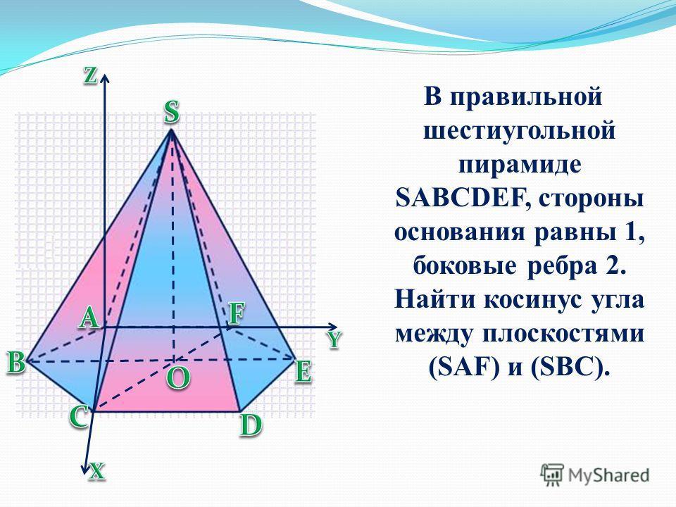 В правильной шестиугольной пирамиде SABCDEF, стороны основания равны 1, боковые ребра 2. Найти косинус угла между плоскостями (SAF) и (SBC).
