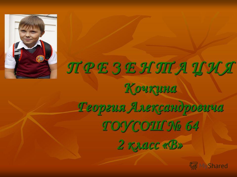 П Р Е З Е Н Т А Ц И Я Кочкина Георгия Александровича ГОУСОШ 64 2 класс «В»