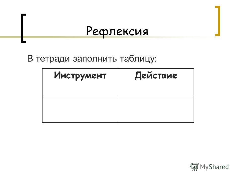 Рефлексия В тетради заполнить таблицу: ИнструментДействие