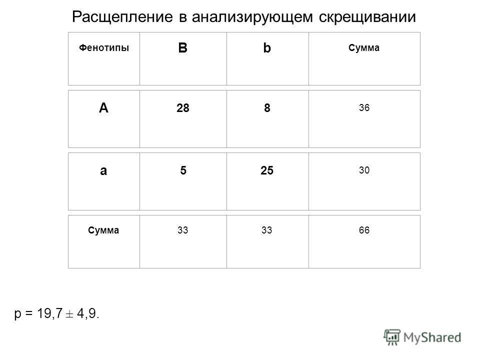 p = 19,7 ± 4,9. Фенотипы B b Сумма А 28 8 36 a 5 25 30 Сумма 33 33 66 Расщепление в анализирующем скрещивании