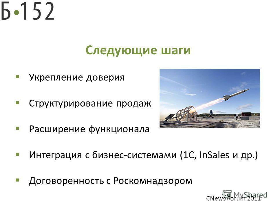 Следующие шаги Укрепление доверия Структурирование продаж Расширение функционала Интеграция с бизнес-системами (1С, InSales и др.) Договоренность с Роскомнадзором CNews Forum 2011