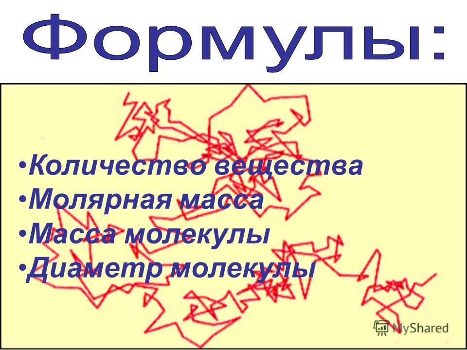 Количество вещества Молярная масса Масса молекулы Диаметр молекулы