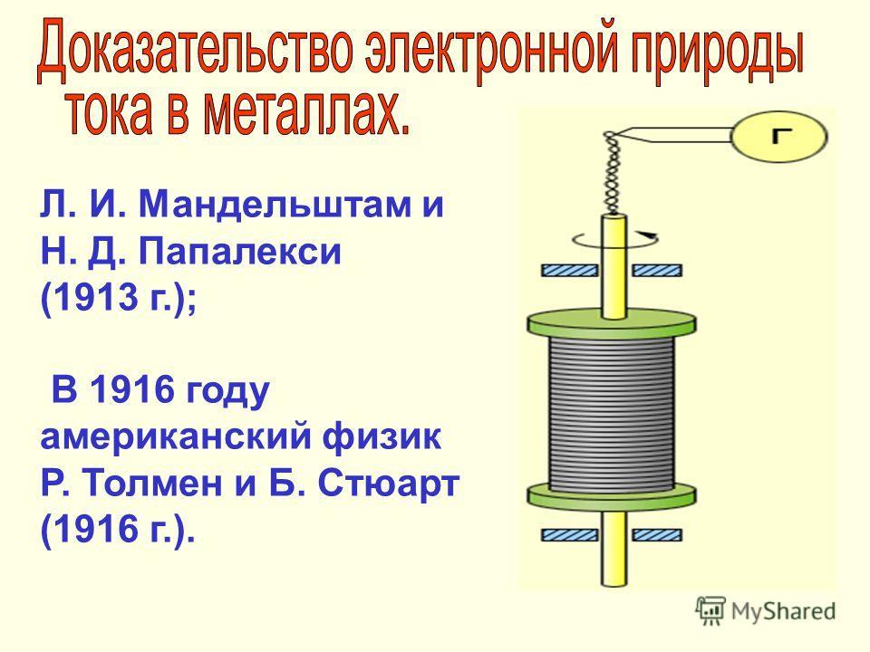 Л. И. Мандельштам и Н. Д. Папалекси (1913 г.); В 1916 году американский физик Р. Толмен и Б. Стюарт (1916 г.).