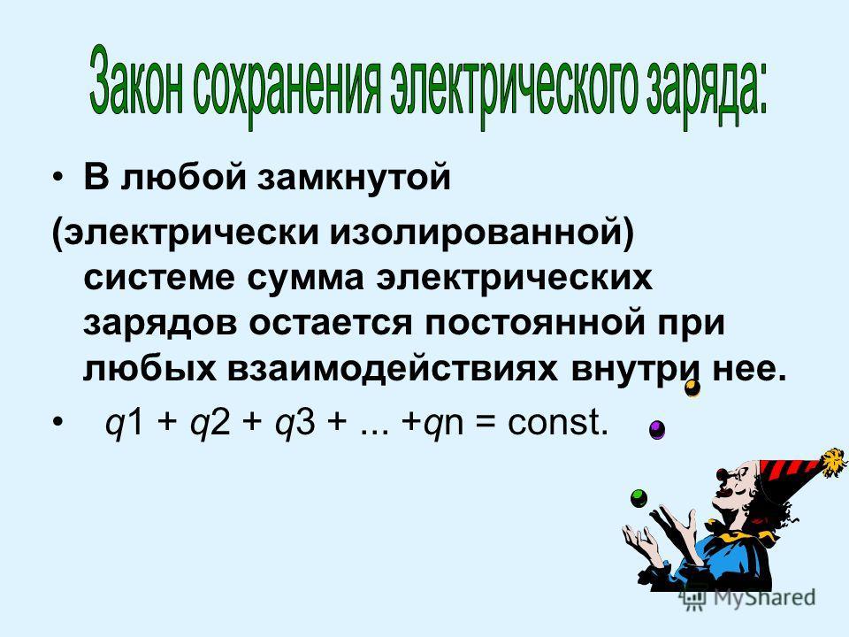 В любой замкнутой (электрически изолированной) системе сумма электрических зарядов остается постоянной при любых взаимодействиях внутри нее. q1 + q2 + q3 +... +qn = const.