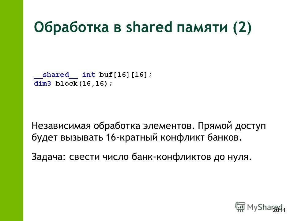 2011 Обработка в shared памяти (2) Независимая обработка элементов. Прямой доступ будет вызывать 16-кратный конфликт банков. Задача: свести число банк-конфликтов до нуля. __shared__ int buf[16][16]; dim3 block(16,16);