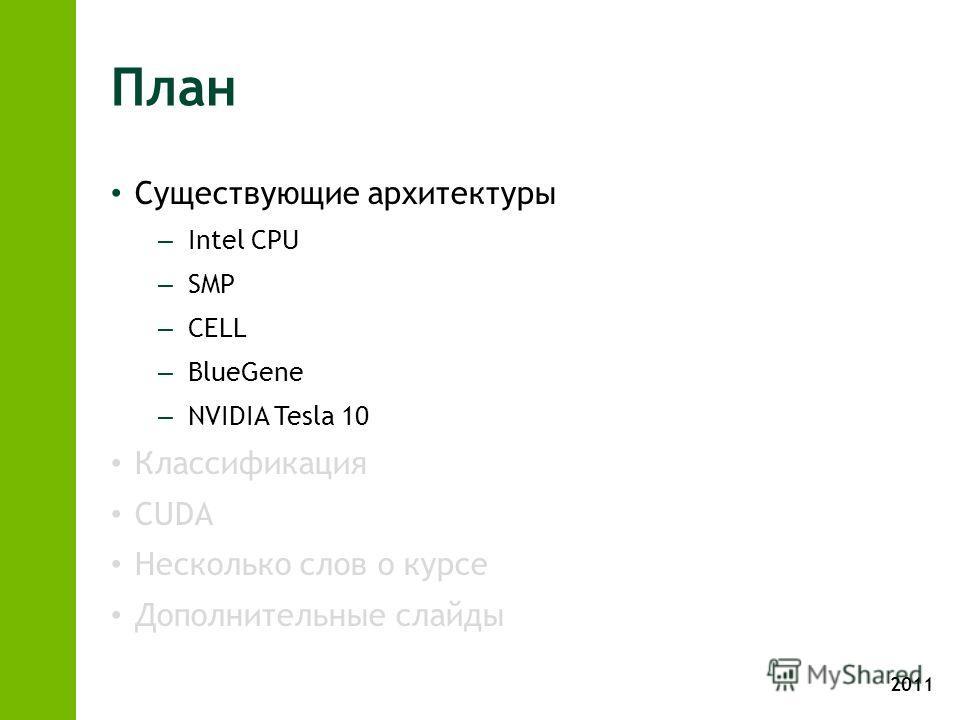 2011 План Существующие архитектуры – Intel CPU – SMP – CELL – BlueGene – NVIDIA Tesla 10 Классификация CUDA Несколько слов о курсе Дополнительные слайды