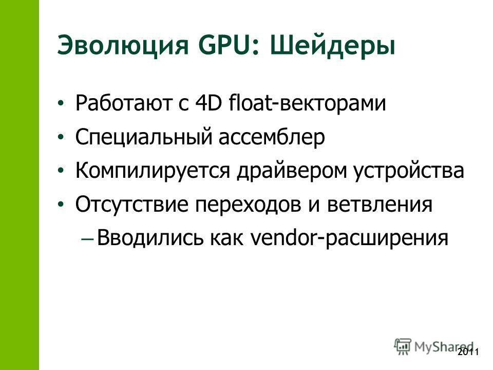 2011 Эволюция GPU: Шейдеры Работают с 4D float-векторами Специальный ассемблер Компилируется драйвером устройства Отсутствие переходов и ветвления – Вводились как vendor-расширения