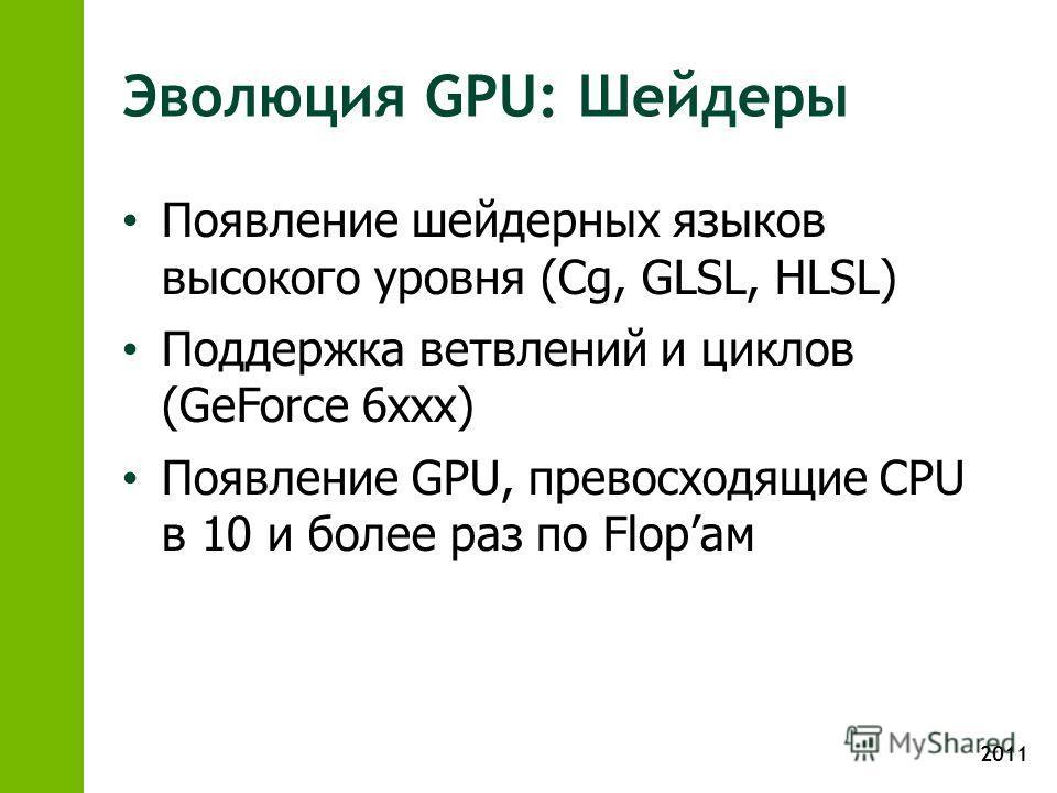 2011 Эволюция GPU: Шейдеры Появление шейдерных языков высокого уровня (Cg, GLSL, HLSL) Поддержка ветвлений и циклов (GeForce 6xxx) Появление GPU, превосходящие CPU в 10 и более раз по Flopам