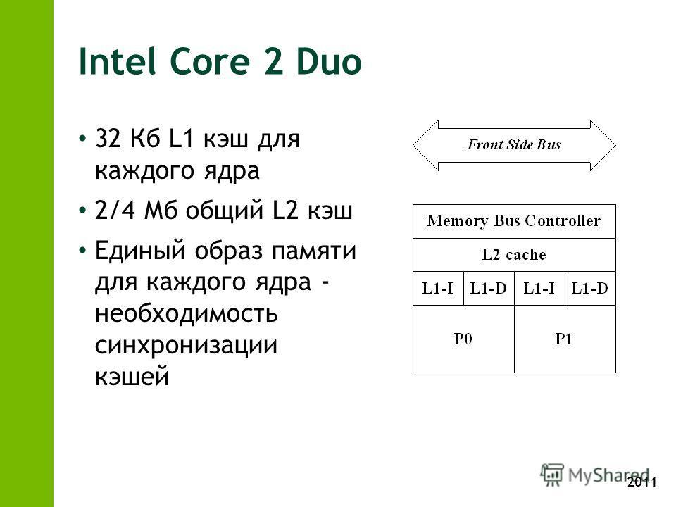 2011 Intel Core 2 Duo 32 Кб L1 кэш для каждого ядра 2/4 Мб общий L2 кэш Единый образ памяти для каждого ядра - необходимость синхронизации кэшей