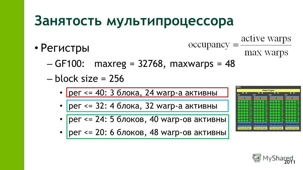 2011 Занятость мультипроцессора Регистры – GF100: maxreg = 32768, maxwarps = 48 – block size = 256 рег