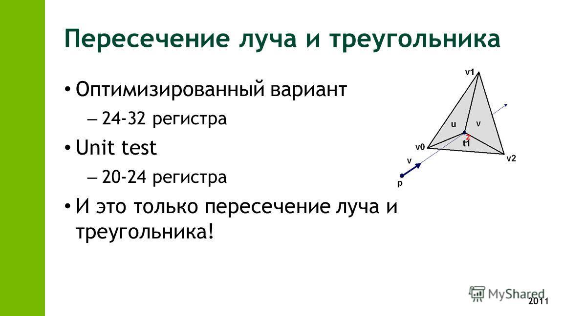 2011 Пересечение луча и треугольника Оптимизированный вариант – 24-32 регистра Unit test – 20-24 регистра И это только пересечение луча и треугольника!