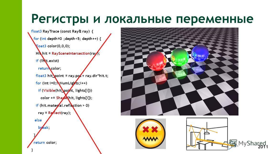 2011 Регистры и локальные переменные float3 RayTrace (const Ray& ray) { for (int depth=0 ;depth