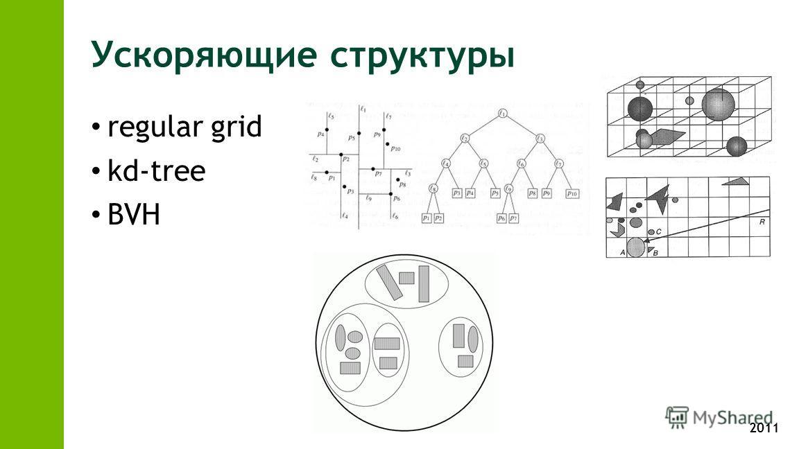 2011 Ускоряющие структуры regular grid kd-tree BVH