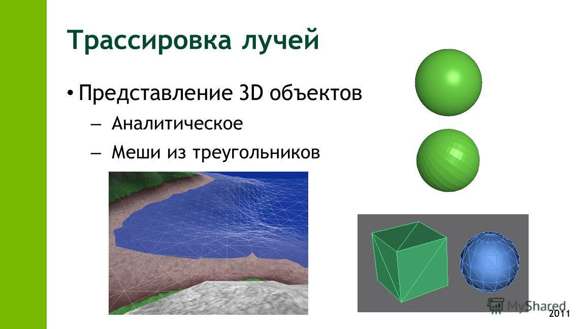 2011 Трассировка лучей Представление 3D объектов – Аналитическое – Меши из треугольников