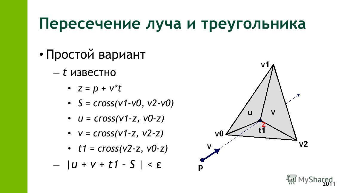 2011 Пересечение луча и треугольника Простой вариант – t известно z = p + v*t S = cross(v1-v0, v2-v0) u = cross(v1-z, v0-z) v = cross(v1-z, v2-z) t1 = cross(v2-z, v0-z) – |u + v + t1 – S | < ε