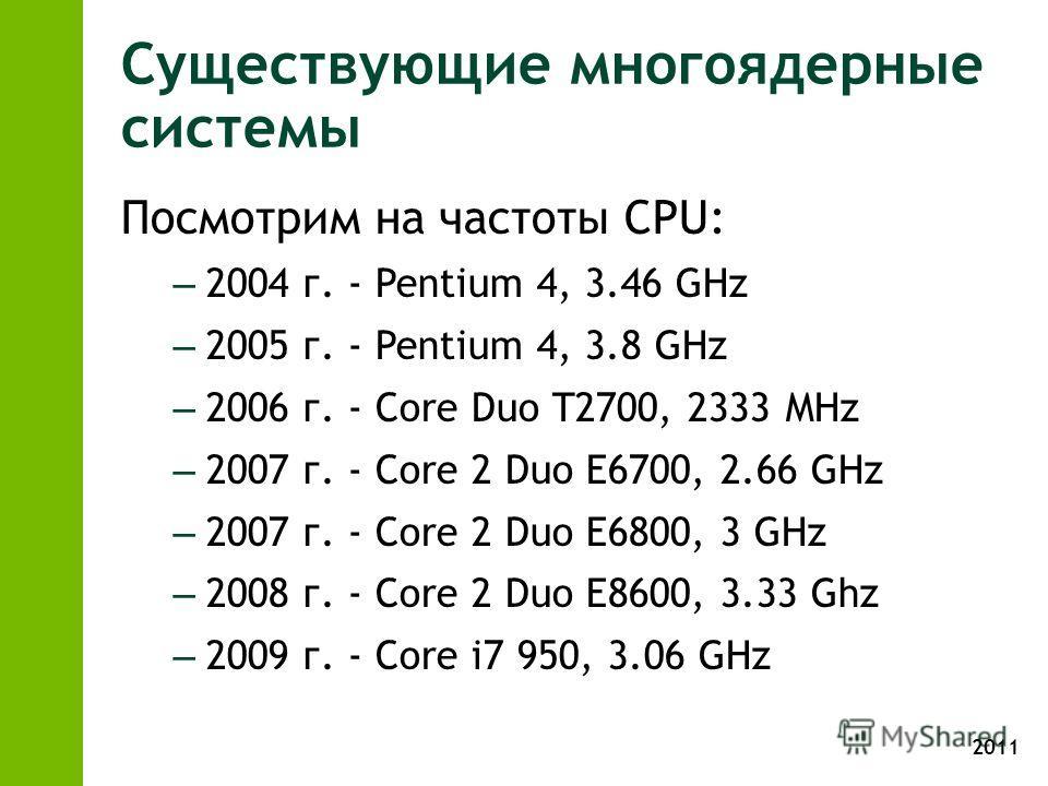 2011 Существующие многоядерные системы Посмотрим на частоты CPU: – 2004 г. - Pentium 4, 3.46 GHz – 2005 г. - Pentium 4, 3.8 GHz – 2006 г. - Core Duo T2700, 2333 MHz – 2007 г. - Core 2 Duo E6700, 2.66 GHz – 2007 г. - Core 2 Duo E6800, 3 GHz – 2008 г.