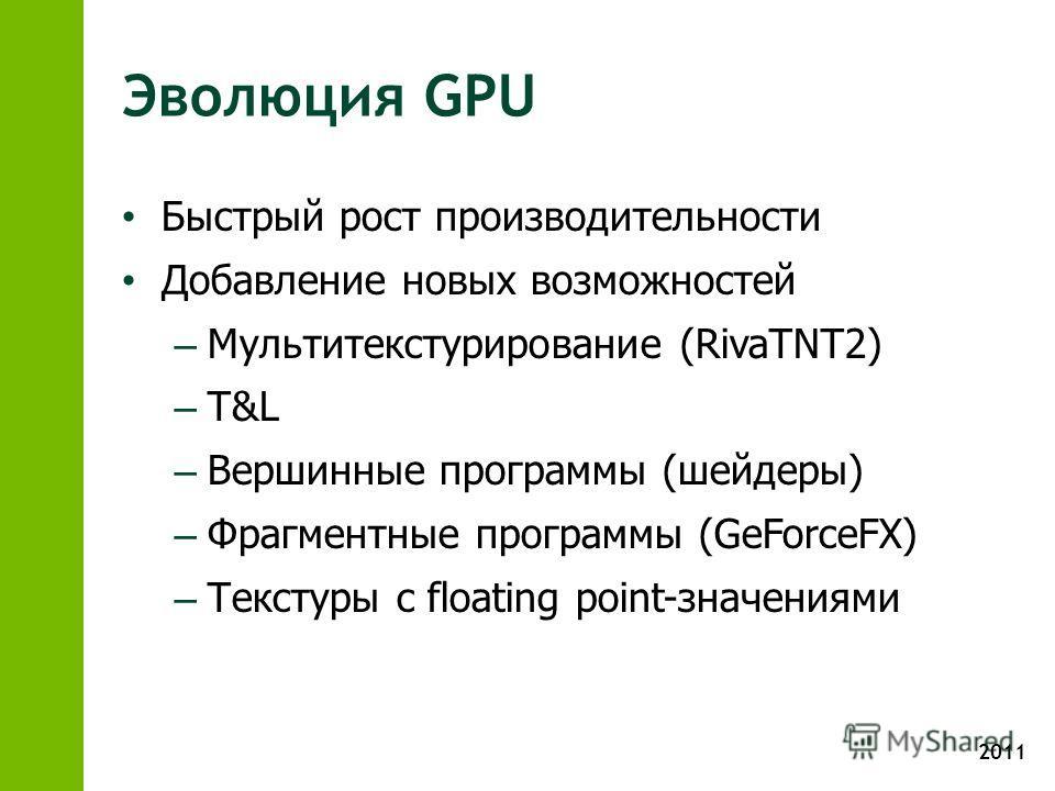 2011 Эволюция GPU Быстрый рост производительности Добавление новых возможностей – Мультитекстурирование (RivaTNT2) – T&L – Вершинные программы (шейдеры) – Фрагментные программы (GeForceFX) – Текстуры с floating point-значениями