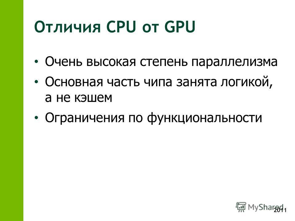 2011 Отличия CPU от GPU Очень высокая степень параллелизма Основная часть чипа занята логикой, а не кэшем Ограничения по функциональности