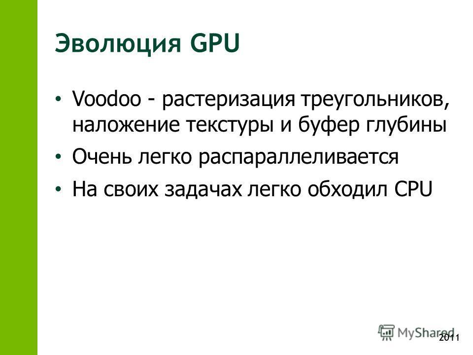 2011 Эволюция GPU Voodoo - растеризация треугольников, наложение текстуры и буфер глубины Очень легко распараллеливается На своих задачах легко обходил CPU