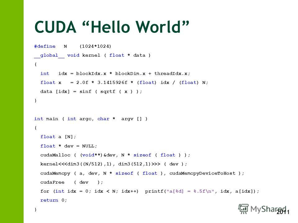 2011 CUDA Hello World #defineN(1024*1024) __global__ void kernel ( float * data ) { int idx = blockIdx.x * blockDim.x + threadIdx.x; float x = 2.0f * 3.1415926f * (float) idx / (float) N; data [idx] = sinf ( sqrtf ( x ) ); } int main ( int argc, char