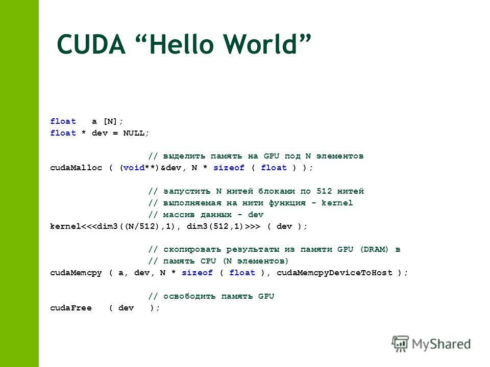 CUDA Hello World float a [N]; float * dev = NULL; // выделить память на GPU под N элементов cudaMalloc ( (void**)&dev, N * sizeof ( float ) ); // запустить N нитей блоками по 512 нитей // выполняемая на нити функция - kernel // массив данных - dev ke