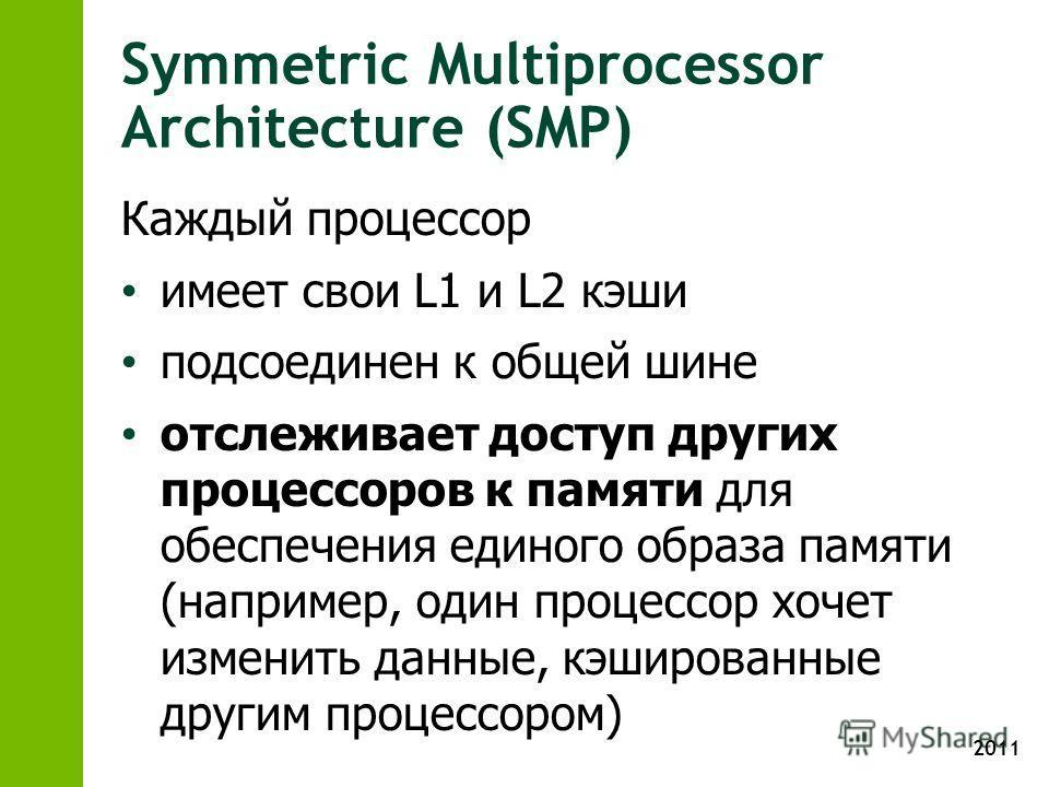 2011 Symmetric Multiprocessor Architecture (SMP) Каждый процессор имеет свои L1 и L2 кэши подсоединен к общей шине отслеживает доступ других процессоров к памяти для обеспечения единого образа памяти (например, один процессор хочет изменить данные, к