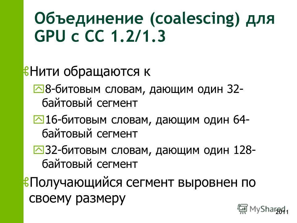 2011 Объединение (coalescing) для GPU с CC 1.2/1.3 z Нити обращаются к y 8-битовым словам, дающим один 32- байтовый сегмент y 16-битовым словам, дающим один 64- байтовый сегмент y 32-битовым словам, дающим один 128- байтовый сегмент z Получающийся се