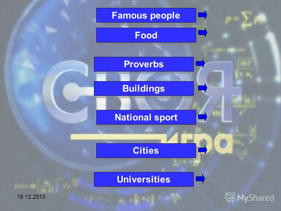 16.12.2013 Famous people Food Proverbs Buildings National sport Cities Universities