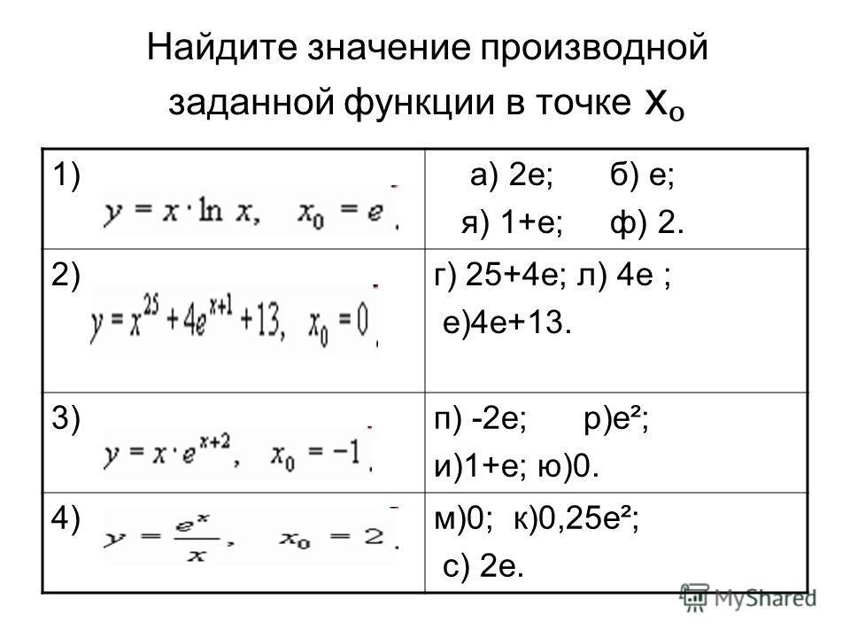 Найдите значение производной заданной функции в точке х 1) а) 2е; б) е; я) 1+е; ф) 2. 2)г) 25+4е; л) 4е ; е)4е+13. 3)п) -2е; р)е²; и)1+е; ю)0. 4)м)0; к)0,25е²; с) 2е.