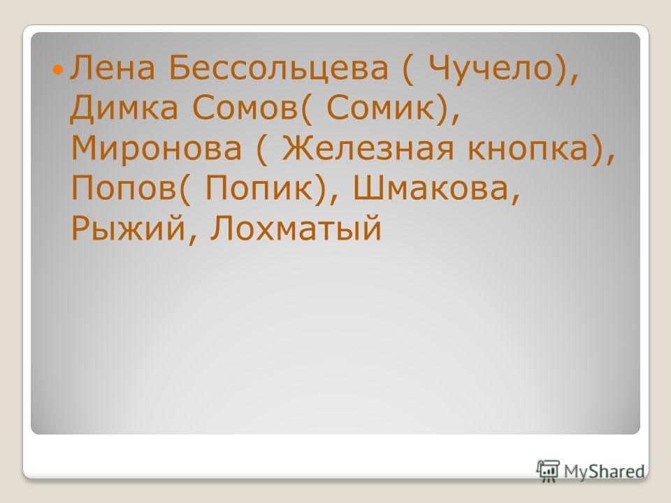 Лена Бессольцева ( Чучело), Димка Сомов( Сомик), Миронова ( Железная кнопка), Попов( Попик), Шмакова, Рыжий, Лохматый