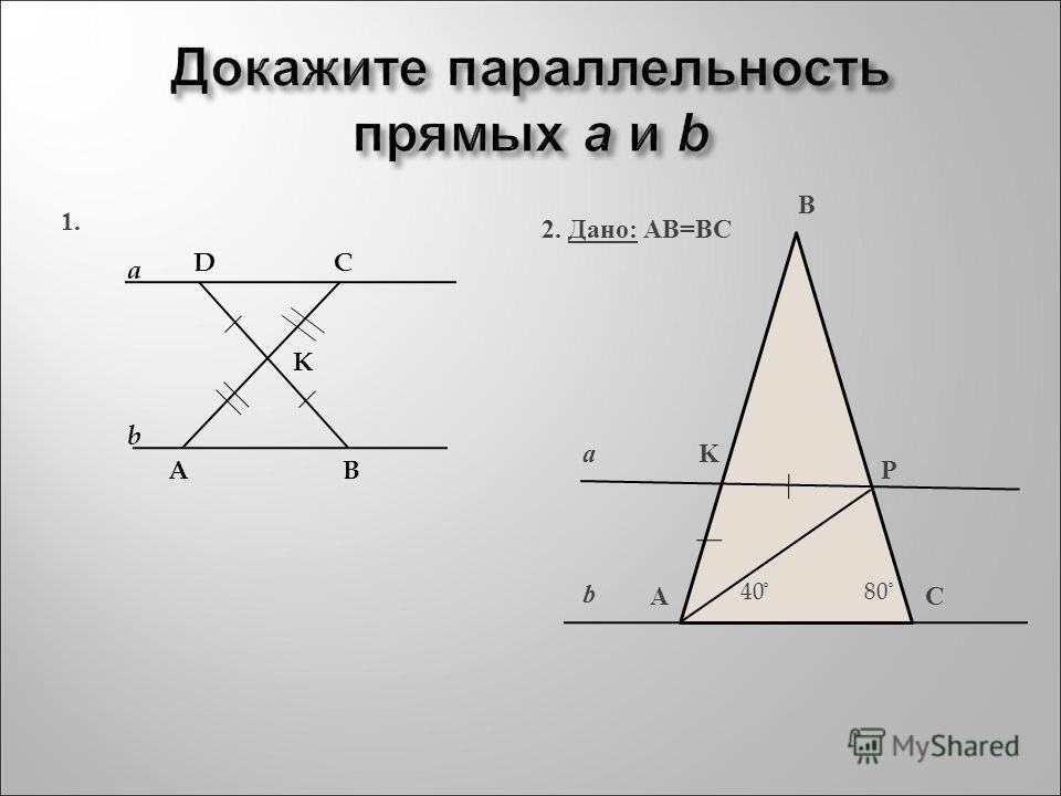 Докажите параллельность прямых a и b a b DC AB K a b AC B P K 40 ̊ 80 ̊ 2. Дано: АВ=ВС 1.
