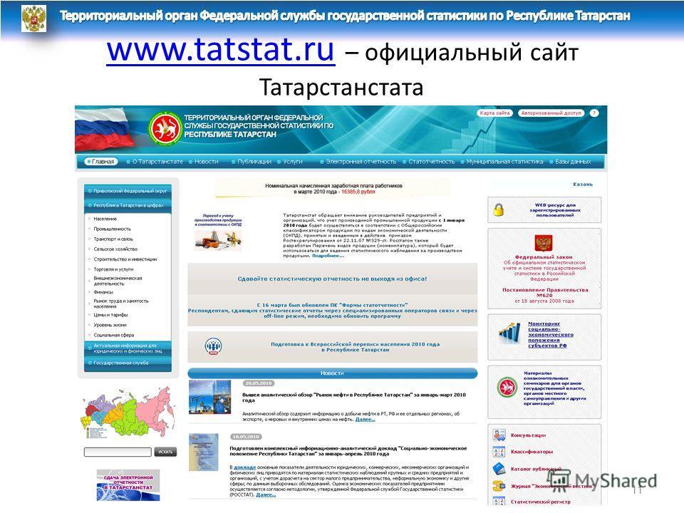 www.tatstat.ruwww.tatstat.ru – официальный сайт Татарстанстата 11