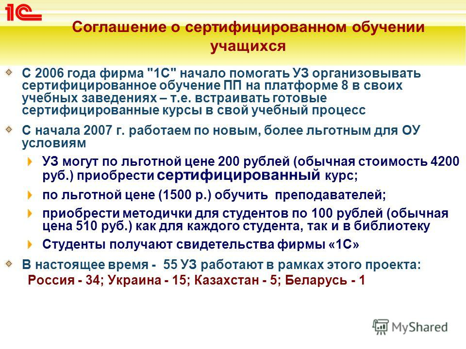 Соглашение о сертифицированном обучении учащихся С 2006 года фирма