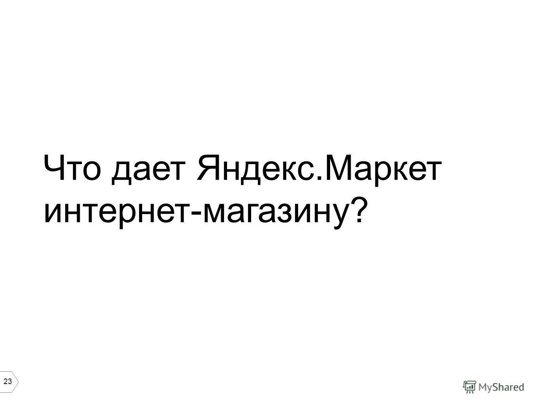 23 Что дает Яндекс.Маркет интернет-магазину?