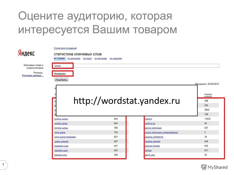 7 Оцените аудиторию, которая интересуется Вашим товаром http://wordstat.yandex.ru