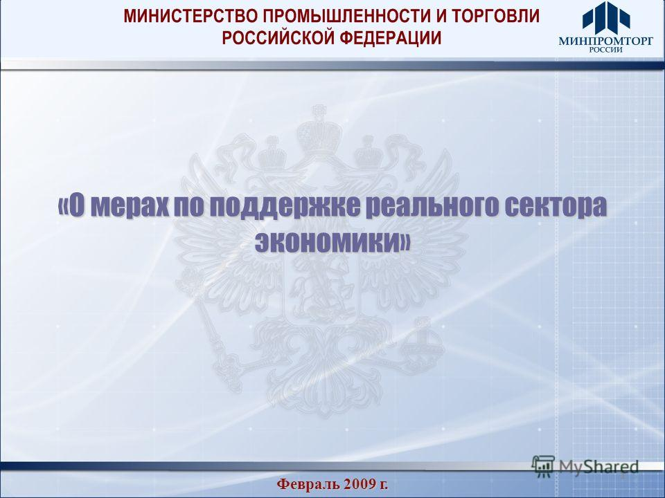 11 «О мерах по поддержке реального сектора экономики» Февраль 2009 г.