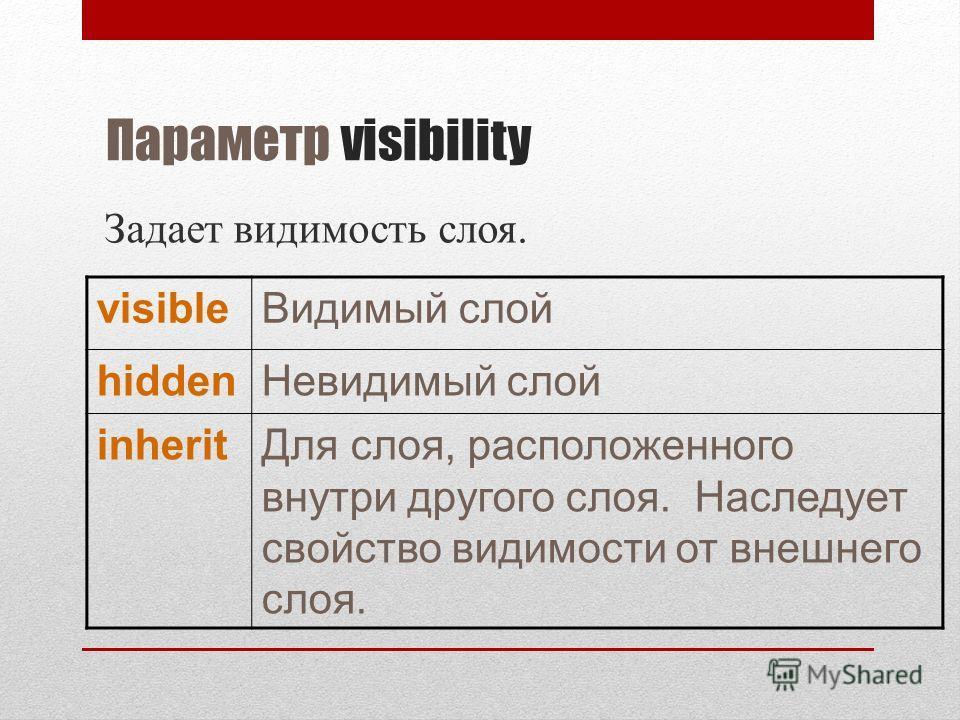Параметр visibility Задает видимость слоя. visibleВидимый слой hiddenНевидимый слой inheritДля слоя, расположенного внутри другого слоя. Наследует свойство видимости от внешнего слоя.