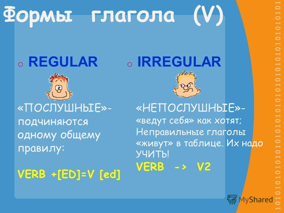 oRoREGULAR oIoIRREGULAR Формы глагола (V) «ПОСЛУШНЫЕ»- подчиняются одному общему правилу: VERB +[ED]=V [ed] «НЕПОСЛУШНЫЕ»- «ведут себя» как хотят; Неправильные глаголы «живут» в таблице. Их надо УЧИТЬ! VERB -> V2