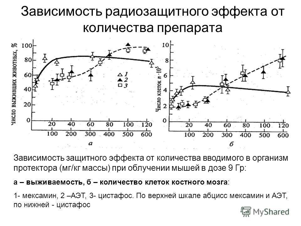Зависимость радиозащитного эффекта от количества препарата Зависимость защитного эффекта от количества вводимого в организм протектора (мг/кг массы) при облучении мышей в дозе 9 Гр: а – выживаемость, б – количество клеток костного мозга: 1- мексамин,