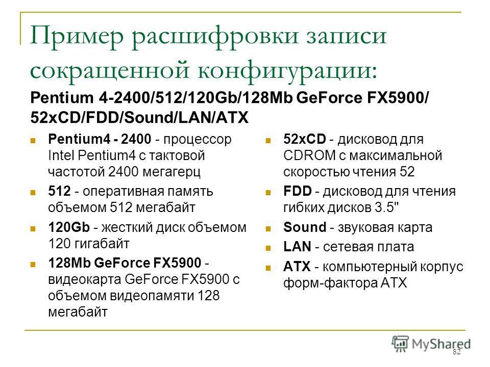 Пример расшифровки записи сокращенной конфигурации: Pentium 4-2400/512/120Gb/128Mb GeForce FX5900/ 52xCD/FDD/Sound/LAN/ATX Pentium4 - 2400 - процессор Intel Pentium4 с тактовой частотой 2400 мегагерц 512 - оперативная память объемом 512 мегабайт 120G