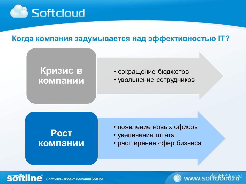 Softcloud – проект компании Softline Когда компания задумывается над эффективностью IT? сокращение бюджетов увольнение сотрудников Кризис в компании появление новых офисов увеличение штата расширение сфер бизнеса Рост компании