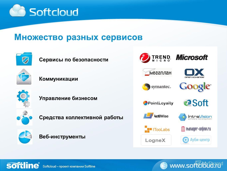 Softcloud – проект компании Softline Множество разных сервисов Сервисы по безопасности Коммуникации Управление бизнесом Средства коллективной работы Веб-инструменты